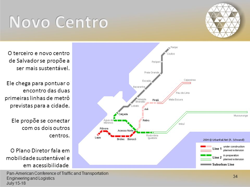 Pan-American Conference of Traffic and Transportation Engineering and Logistics July 15-18 Pan-American Conference of Traffic and Transportation Engineering and Logistics July 15-18 34 O terceiro e novo centro de Salvador se propõe a ser mais sustentável.