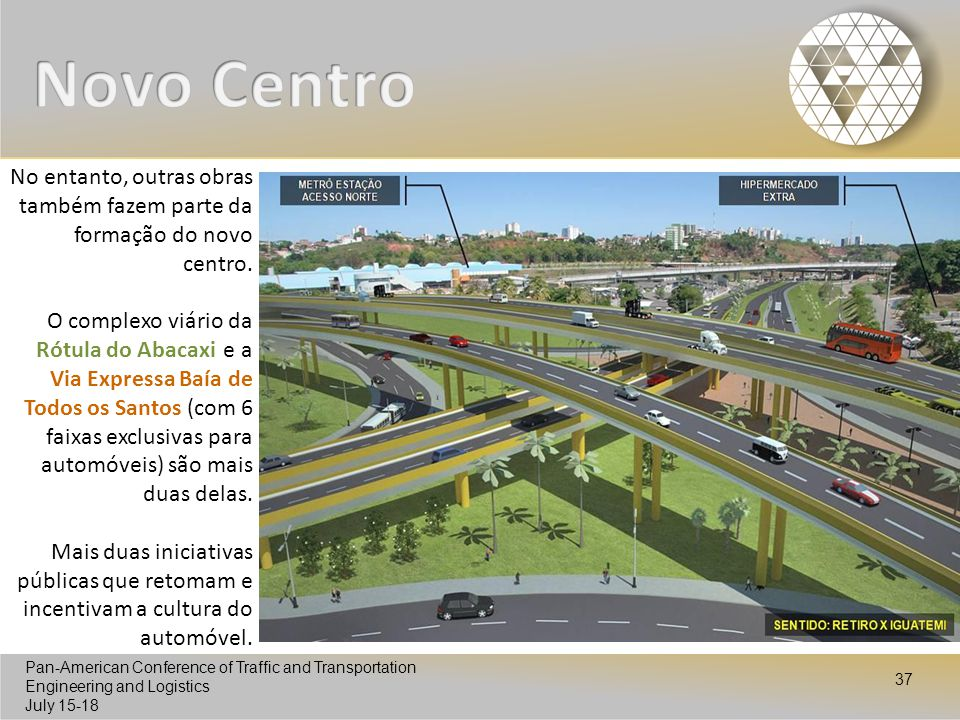 Pan-American Conference of Traffic and Transportation Engineering and Logistics July 15-18 Pan-American Conference of Traffic and Transportation Engineering and Logistics July 15-18 37 No entanto, outras obras também fazem parte da formação do novo centro.
