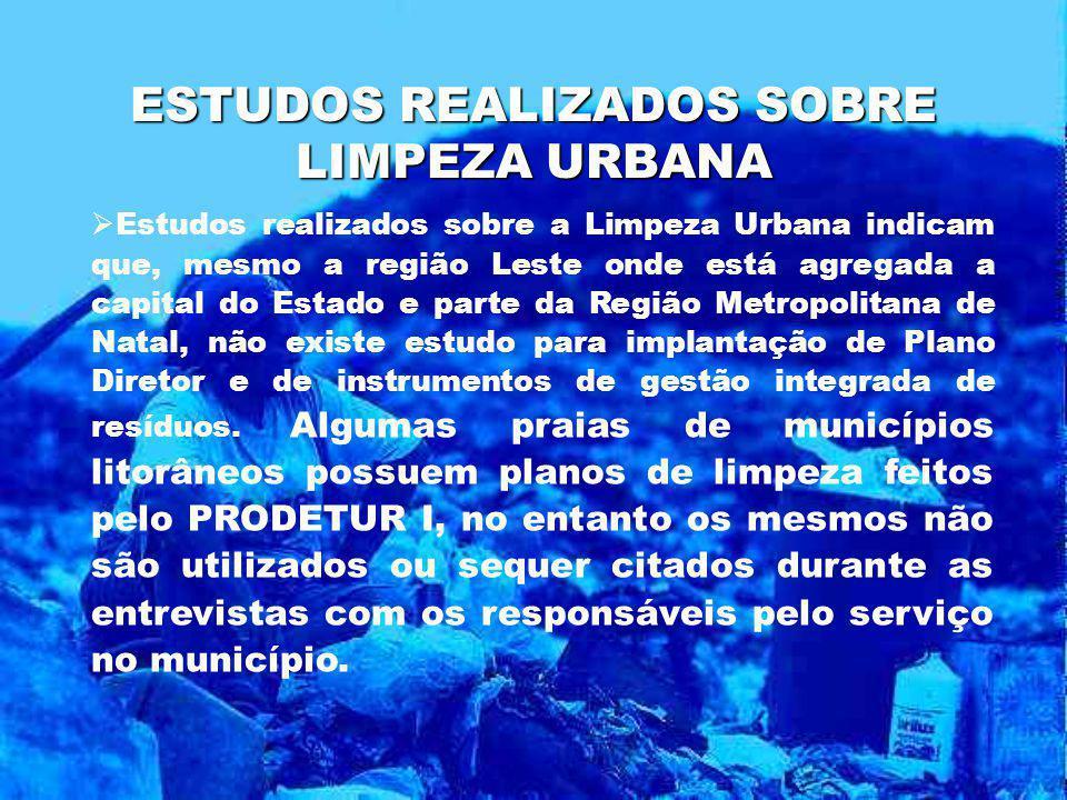 ESTUDOS REALIZADOS SOBRE LIMPEZA URBANA Estudos realizados sobre a Limpeza Urbana indicam que, mesmo a região Leste onde está agregada a capital do Es
