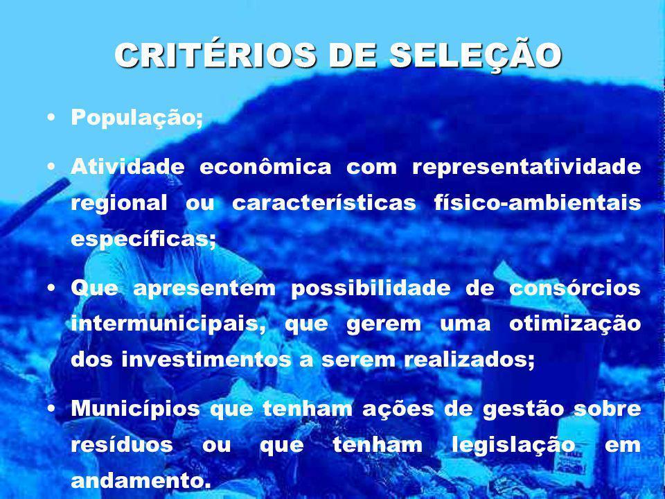 CRITÉRIOS DE SELEÇÃO População; Atividade econômica com representatividade regional ou características físico-ambientais específicas; Que apresentem p