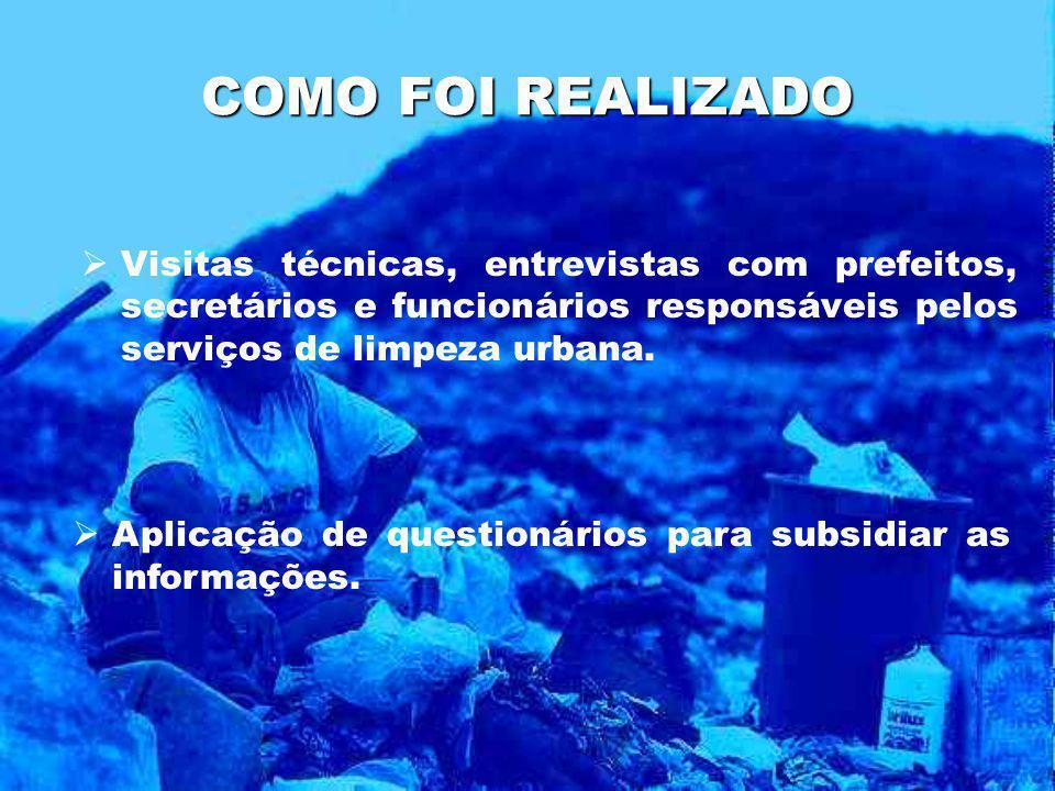 Produção de materiais potencialmente recicláveis: apresenta a média de 30,54% A existência de uma grande concentração de resíduos de coco verde, nos municípios da área litorânea é evidente na amostragem realizada.