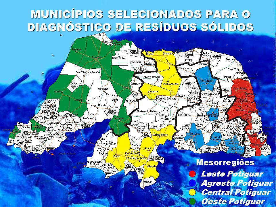 MUNICÍPIOS SELECIONADOS PARA O DIAGNÓSTICO DE RESÍDUOS SÓLIDOS Mesorregiões Agreste Potiguar Leste Potiguar Central Potiguar Oeste Potiguar