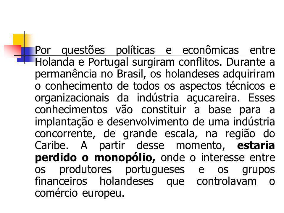 Por questões políticas e econômicas entre Holanda e Portugal surgiram conflitos. Durante a permanência no Brasil, os holandeses adquiriram o conhecime