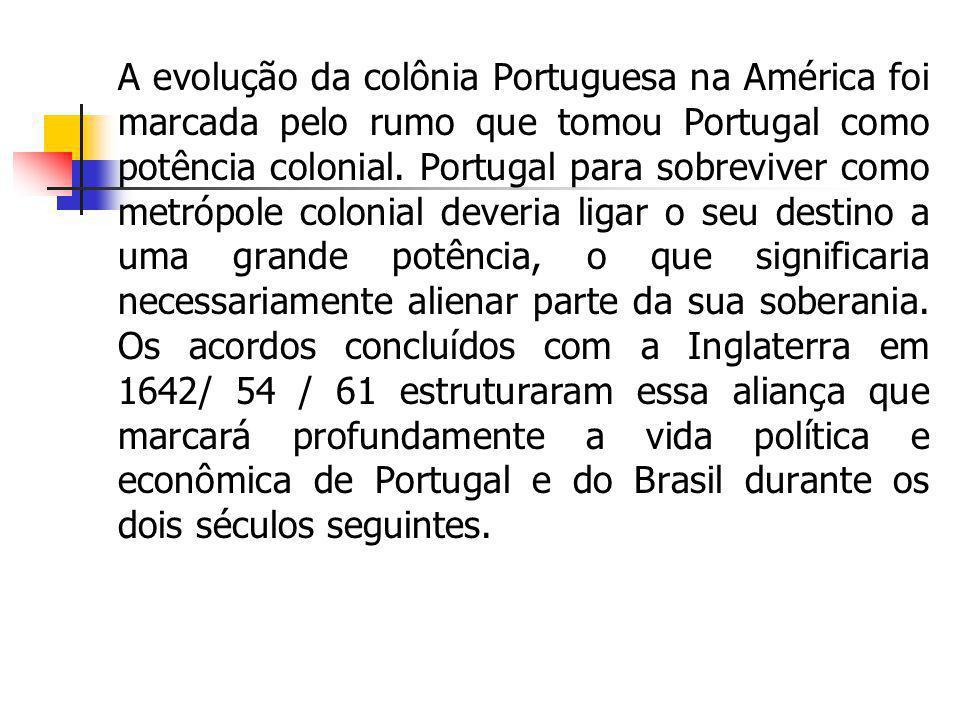 A evolução da colônia Portuguesa na América foi marcada pelo rumo que tomou Portugal como potência colonial. Portugal para sobreviver como metrópole c