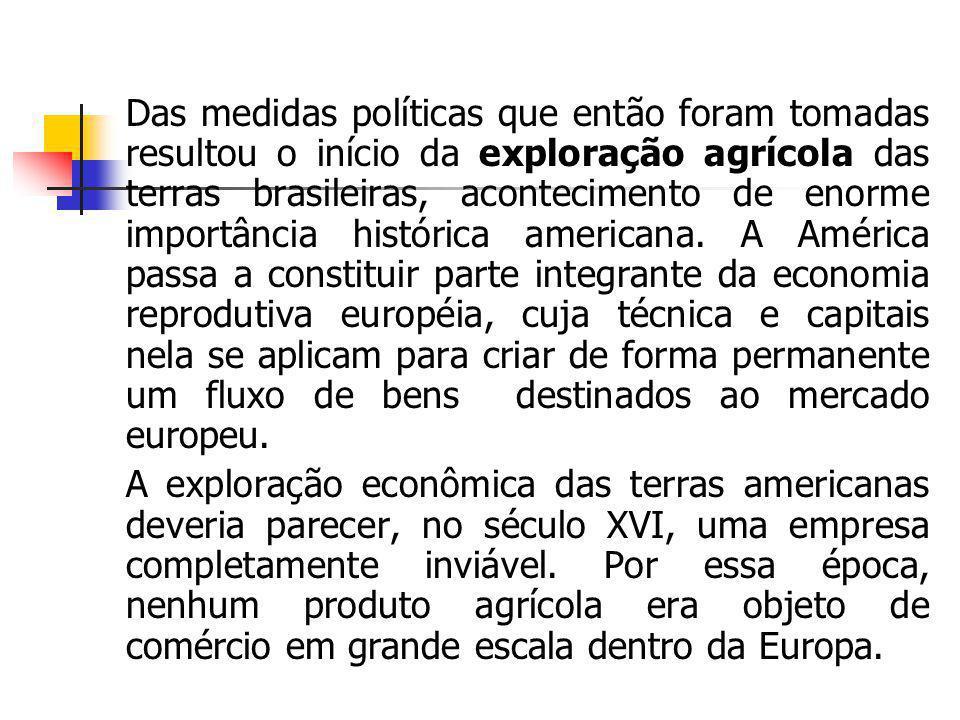 Das medidas políticas que então foram tomadas resultou o início da exploração agrícola das terras brasileiras, acontecimento de enorme importância his
