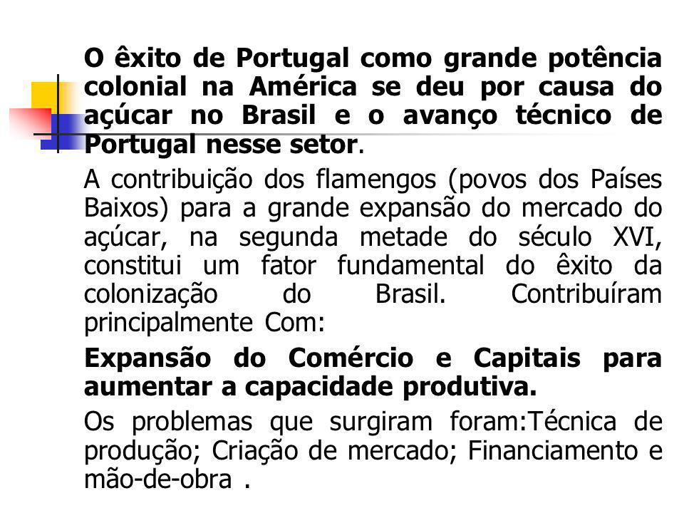 O êxito de Portugal como grande potência colonial na América se deu por causa do açúcar no Brasil e o avanço técnico de Portugal nesse setor. A contri
