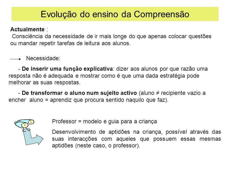 Evolução do ensino da Compreensão Necessidade: - De inserir uma função explicativa: dizer aos alunos por que razão uma resposta não é adequada e mostr