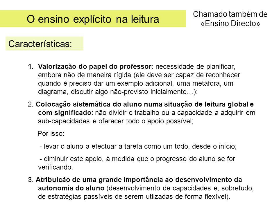 O ensino explícito na leitura Características: Chamado também de «Ensino Directo» 1.Valorização do papel do professor: necessidade de planificar, embo