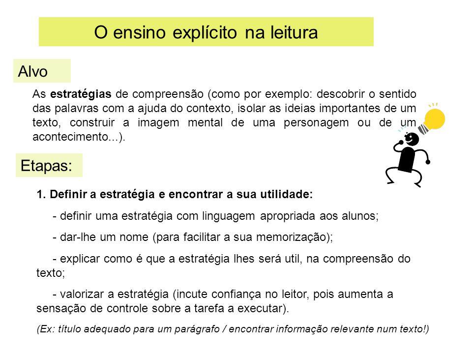 O ensino explícito na leitura Etapas: Alvo As estratégias de compreensão (como por exemplo: descobrir o sentido das palavras com a ajuda do contexto,