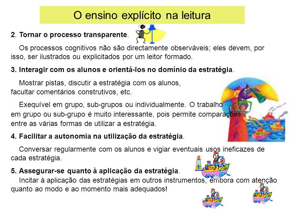 O ensino explícito na leitura 2. Tornar o processo transparente. Os processos cognitivos não são directamente observáveis; eles devem, por isso, ser i