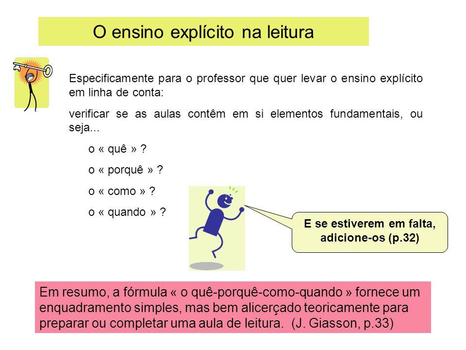 O ensino explícito na leitura Especificamente para o professor que quer levar o ensino explícito em linha de conta: verificar se as aulas contêm em si