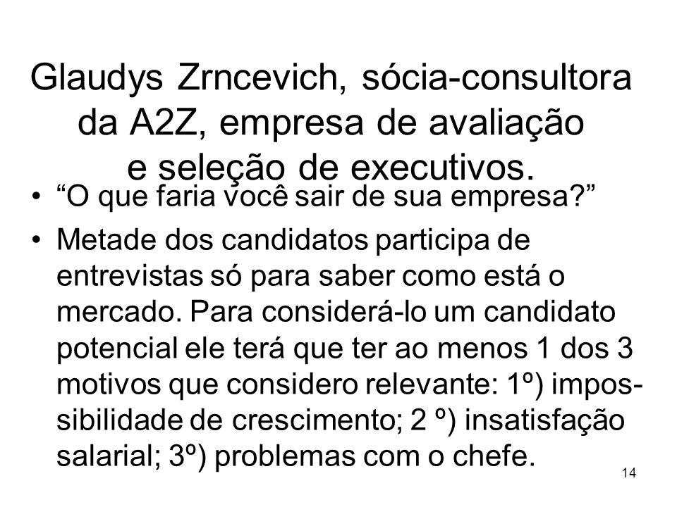14 Glaudys Zrncevich, sócia-consultora da A2Z, empresa de avaliação e seleção de executivos. O que faria você sair de sua empresa? Metade dos candidat