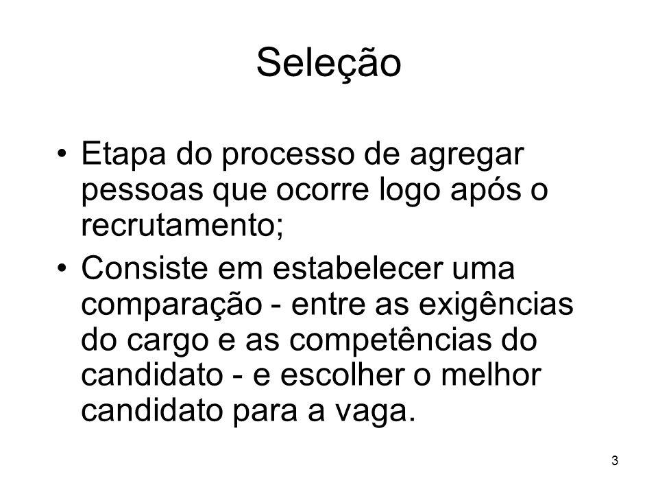 3 Seleção Etapa do processo de agregar pessoas que ocorre logo após o recrutamento; Consiste em estabelecer uma comparação - entre as exigências do ca