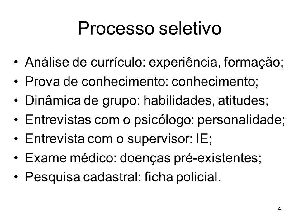 4 Processo seletivo Análise de currículo: experiência, formação; Prova de conhecimento: conhecimento; Dinâmica de grupo: habilidades, atitudes; Entrev