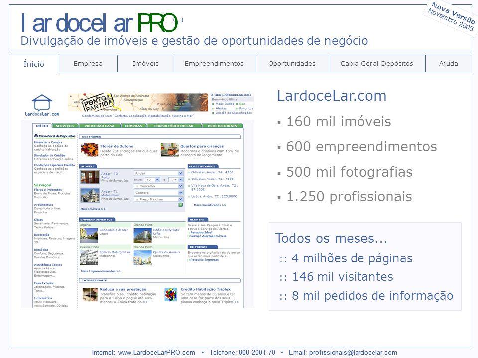 Internet: www.LardoceLarPRO.com Telefone: 808 2001 70 Email: profissionais@lardocelar.com Ínicio EmpresaImóveisEmpreendimentosCaixa Geral DepósitosAjudaOportunidades Divulgação de imóveis e gestão de oportunidades de negócio V.3 Internet: www.LardoceLarPRO.com Telefone: 808 2001 70 Email: profissionais@lardocelar.com LardoceLar.com 160 mil imóveis 600 empreendimentos 500 mil fotografias 1.250 profissionais Todos os meses...