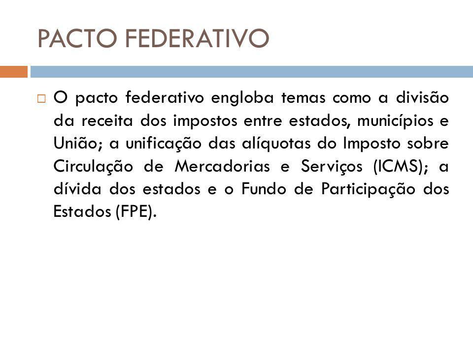 PACTO FEDERATIVO O pacto federativo engloba temas como a divisão da receita dos impostos entre estados, municípios e União; a unificação das alíquotas do Imposto sobre Circulação de Mercadorias e Serviços (ICMS); a dívida dos estados e o Fundo de Participação dos Estados (FPE).