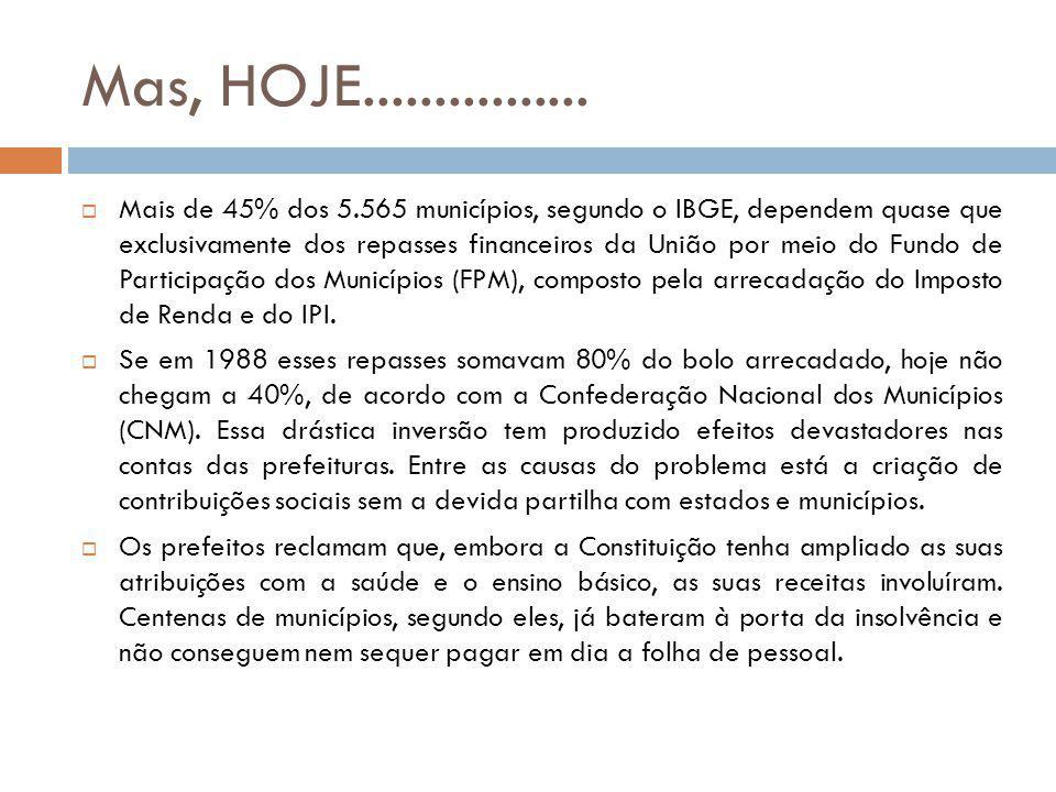 Mas, HOJE................ Mais de 45% dos 5.565 municípios, segundo o IBGE, dependem quase que exclusivamente dos repasses financeiros da União por me