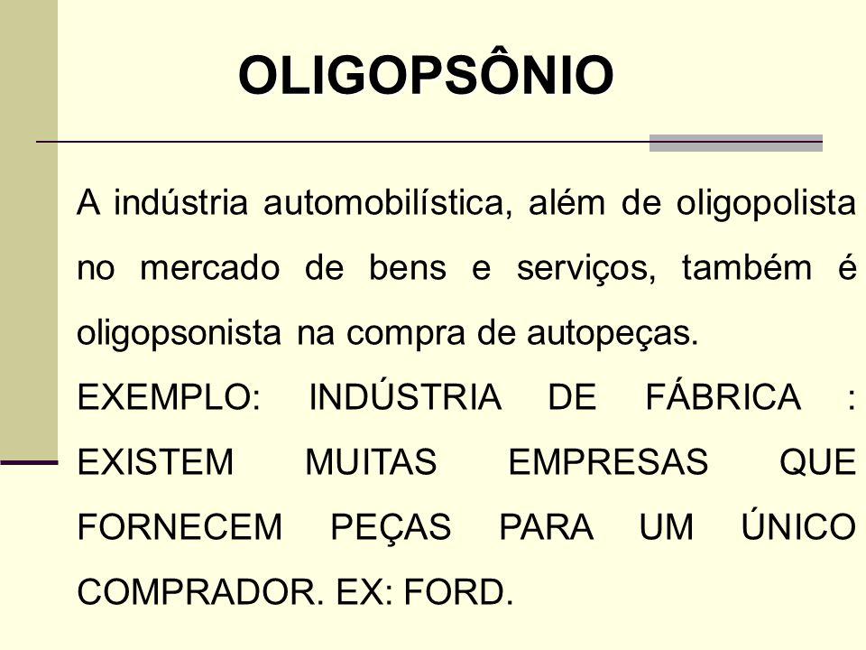 A indústria automobilística, além de oligopolista no mercado de bens e serviços, também é oligopsonista na compra de autopeças. EXEMPLO: INDÚSTRIA DE
