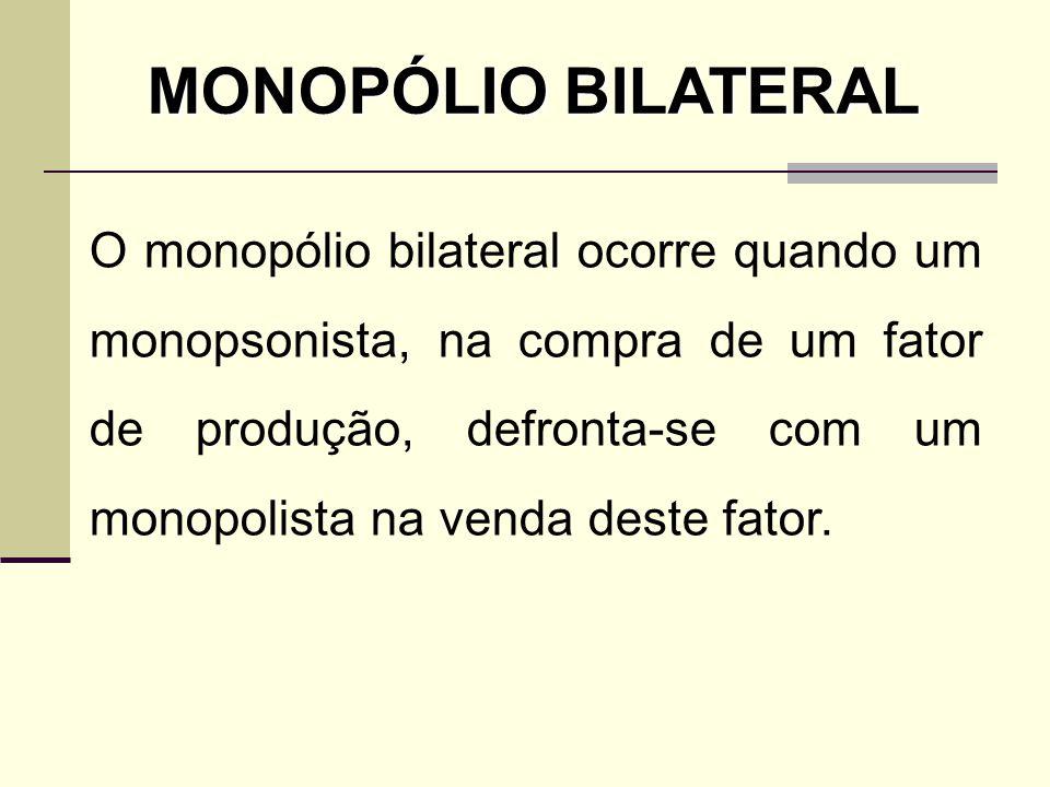 O monopólio bilateral ocorre quando um monopsonista, na compra de um fator de produção, defronta-se com um monopolista na venda deste fator. MONOPÓLIO