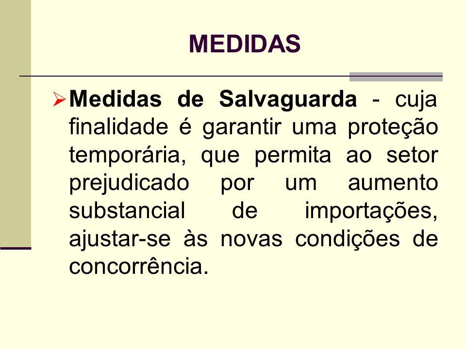 MEDIDAS Medidas de Salvaguarda - cuja finalidade é garantir uma proteção temporária, que permita ao setor prejudicado por um aumento substancial de im