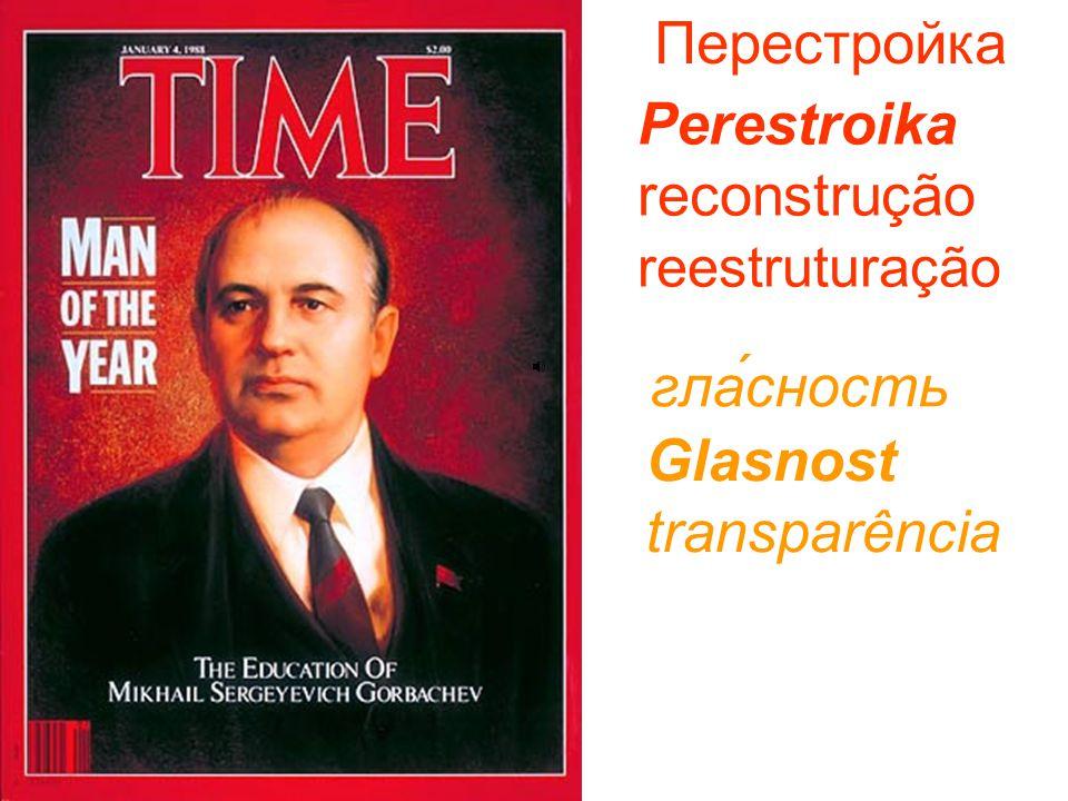 Perestroika reconstrução reestruturação Перестройка Glasnost transparência гла́сность