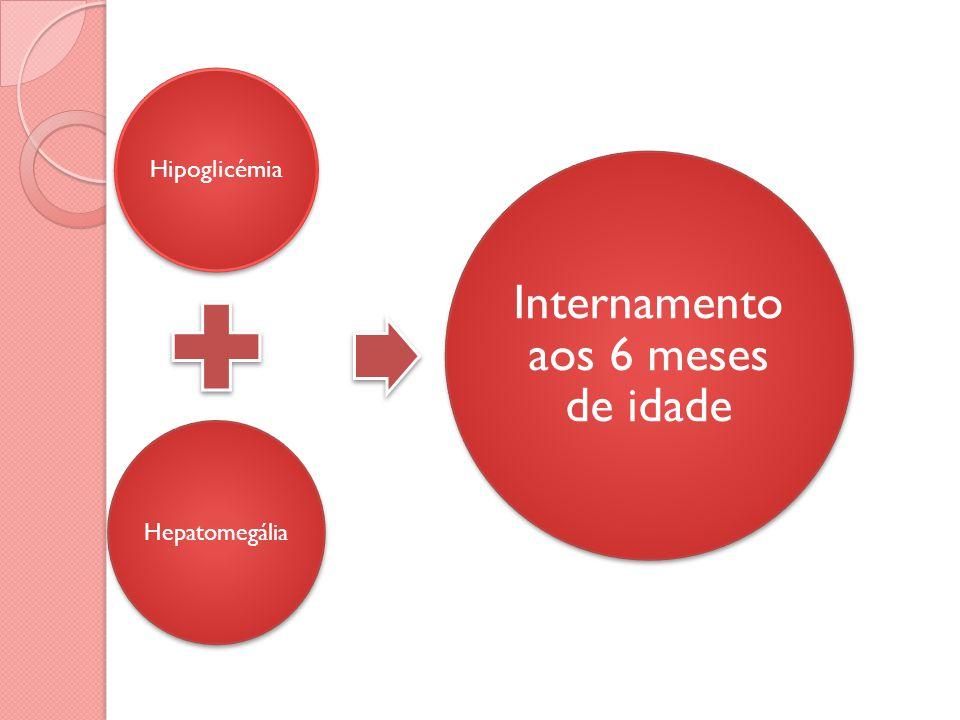 Hipoglicémia Hepatomegália Internamento aos 6 meses de idade