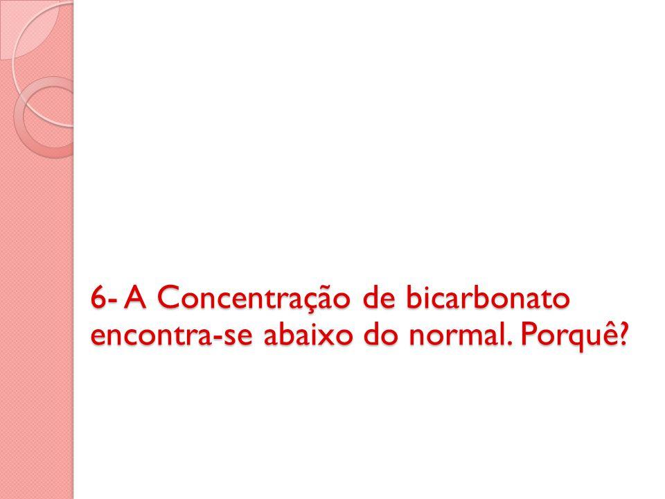 6- A Concentração de bicarbonato encontra-se abaixo do normal. Porquê