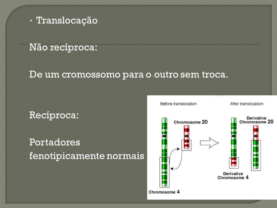 Translocação Não recíproca: De um cromossomo para o outro sem troca. Recíproca: Portadores fenotipicamente normais
