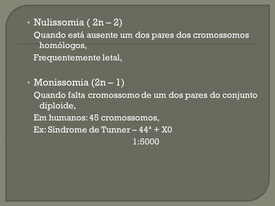 Nulissomia ( 2n – 2) Quando está ausente um dos pares dos cromossomos homólogos, Frequentemente letal, Monissomia (2n – 1) Quando falta cromossomo de um dos pares do conjunto diploide, Em humanos: 45 cromossomos, Ex: Síndrome de Tunner – 44ª + X0 1:5000