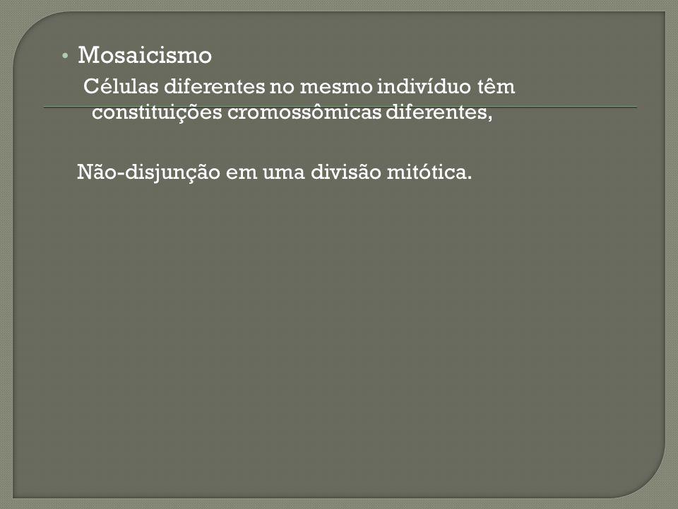 Mosaicismo Células diferentes no mesmo indivíduo têm constituições cromossômicas diferentes, Não-disjunção em uma divisão mitótica.