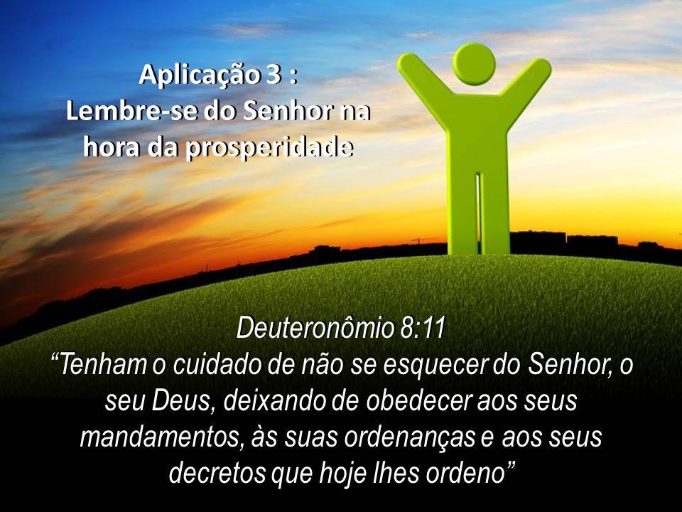Aplicação 3 : Lembre-se do Senhor na hora da prosperidade Aplicação 3 : Lembre-se do Senhor na hora da prosperidade Deuteronômio 8:11 Tenham o cuidado