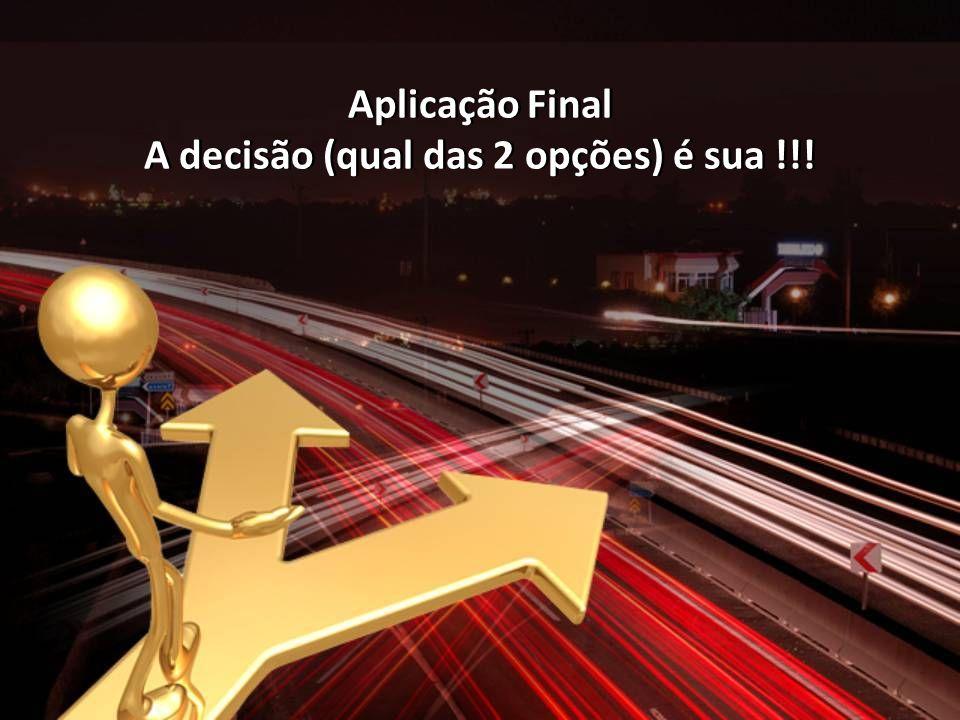 Aplicação Final A decisão (qual das 2 opções) é sua !!! Aplicação Final A decisão (qual das 2 opções) é sua !!!