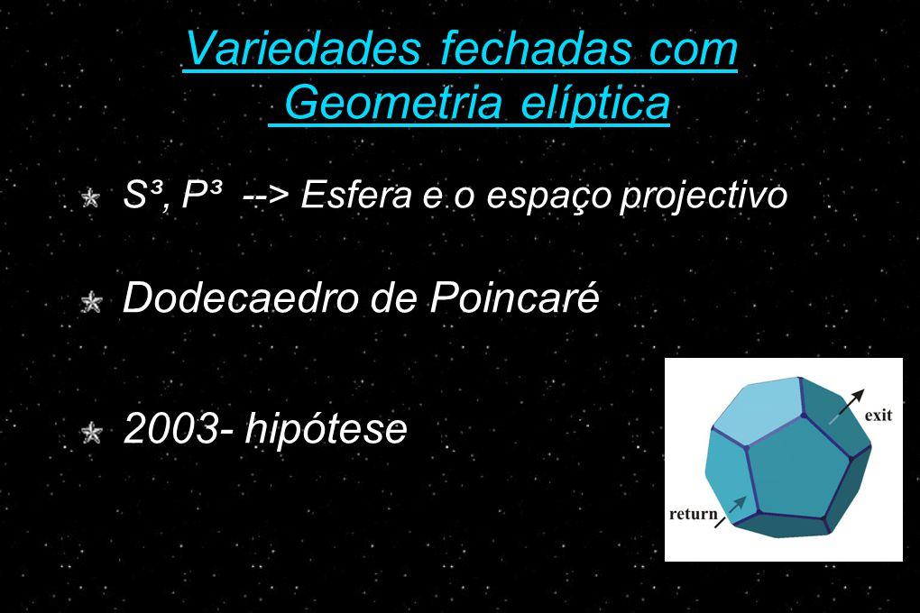 Variedades fechadas com Geometria elíptica S³, P³ --> Esfera e o espaço projectivo Dodecaedro de Poincaré 2003- hipótese