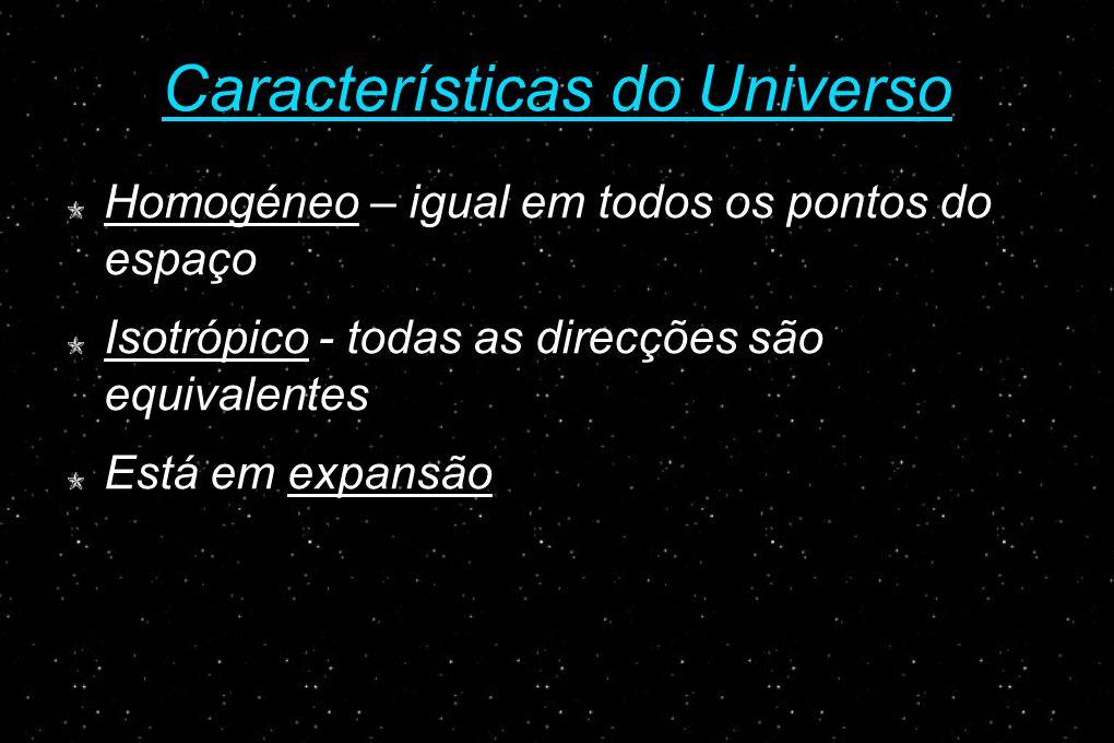 Características do Universo Homogéneo – igual em todos os pontos do espaço Isotrópico - todas as direcções são equivalentes Está em expansão