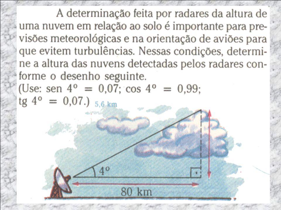 EXEMPLO EXPICATIVO Dados Ângulo= 30 Hipotenusa= - Cat. Oposto= x Cat. Adjcente = 45 tg C.op C.adj tg 30= 0,577 = x 45 x = 45 x 0,577 x = 25,66m Do alt