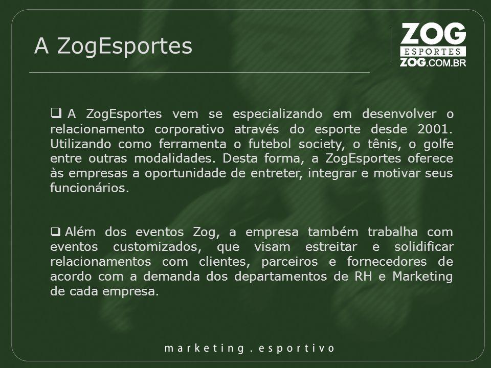 A ZogEsportes A ZogEsportes vem se especializando em desenvolver o relacionamento corporativo através do esporte desde 2001. Utilizando como ferrament