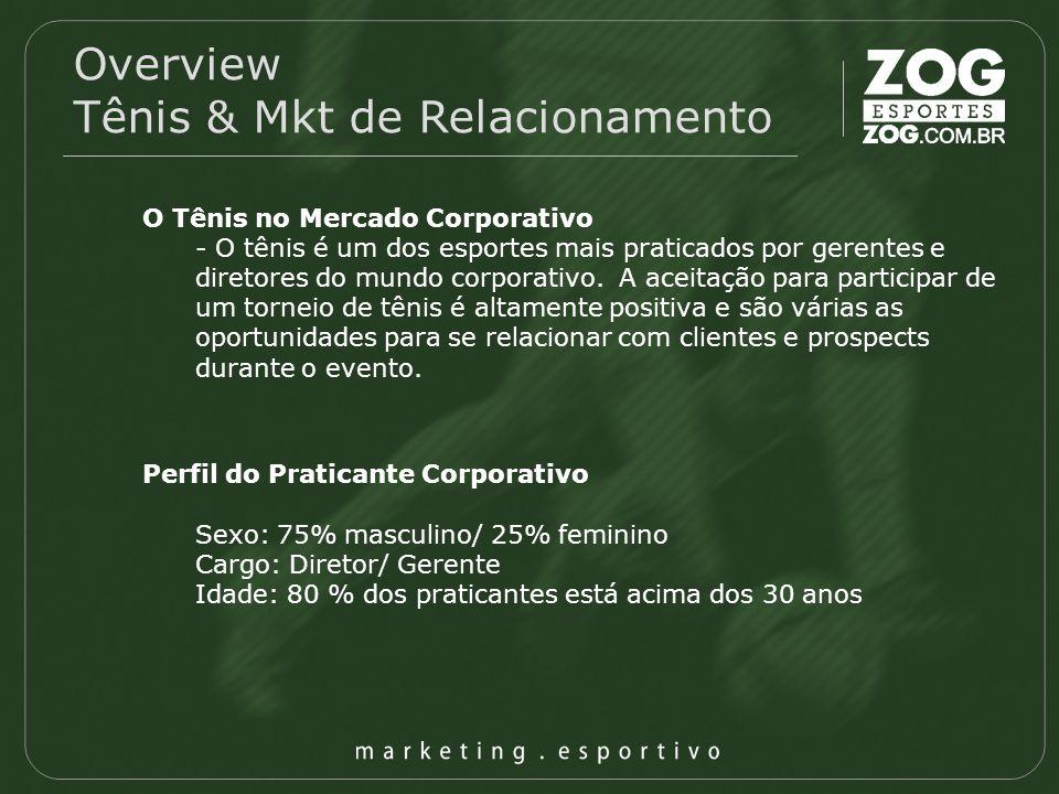 Overview Tênis & Mkt de Relacionamento O Tênis no Mercado Corporativo - O tênis é um dos esportes mais praticados por gerentes e diretores do mundo co