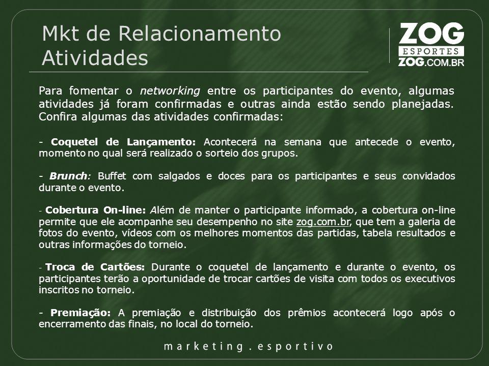 Mkt de Relacionamento Atividades Para fomentar o networking entre os participantes do evento, algumas atividades já foram confirmadas e outras ainda e