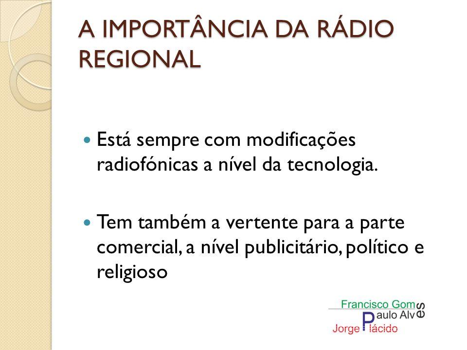 A IMPORTÂNCIA DA RÁDIO REGIONAL As rádios locais estão a perder a sua identidade, tornando-se cada vez mais globais.