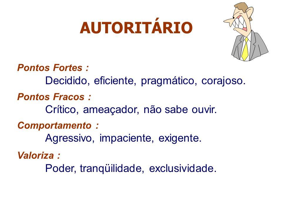 AUTORITÁRIO Pontos Fortes : Decidido, eficiente, pragmático, corajoso.