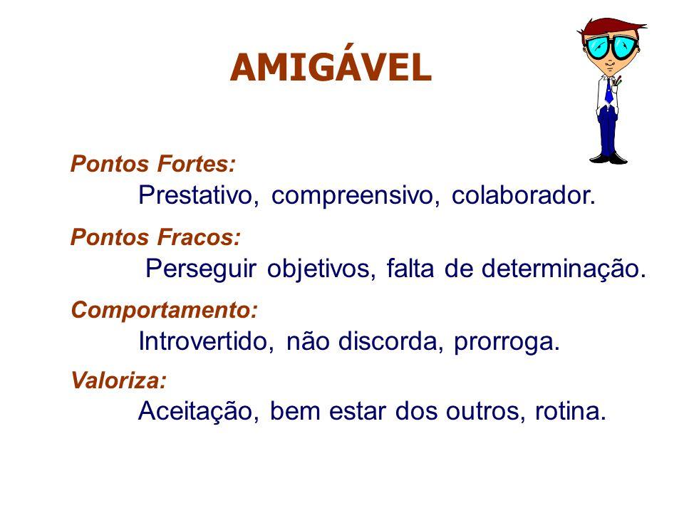 AMIGÁVEL Pontos Fortes: Prestativo, compreensivo, colaborador.