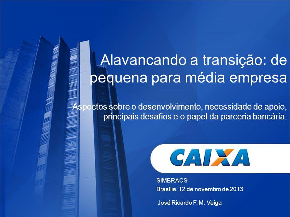 SIMBRACS Brasília, 12 de novembro de 2013 Alavancando a transição: de pequena para média empresa Aspectos sobre o desenvolvimento, necessidade de apoio, principais desafios e o papel da parceria bancária.