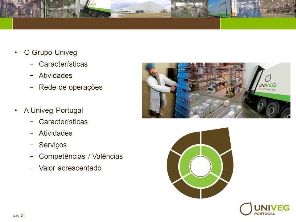 Agenda pág. 2 | O Grupo Univeg Características Atividades Rede de operações A Univeg Portugal Características Atividades Serviços Competências / Valên