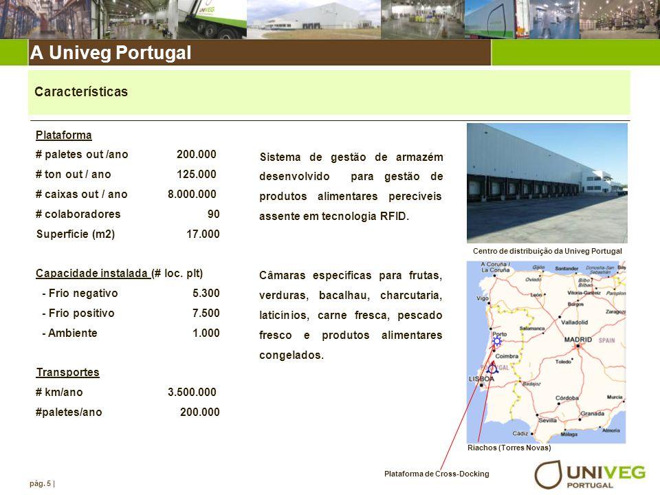 A Univeg Portugal pág. 5 | Plataforma # paletes out /ano 200.000 # ton out / ano 125.000 # caixas out / ano8.000.000 # colaboradores 90 Superfície (m2