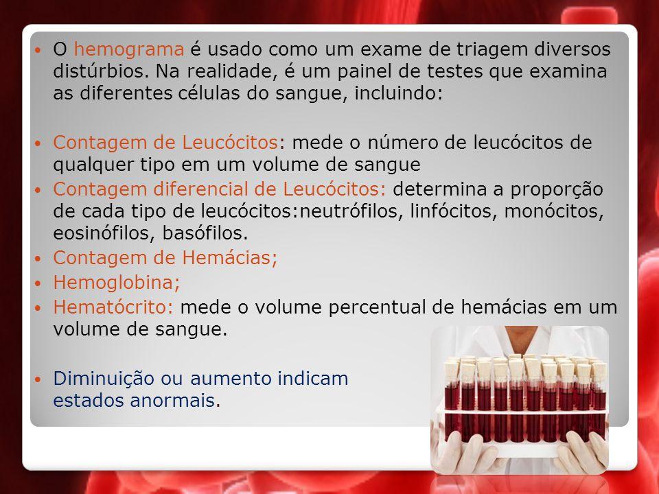 O hemograma é usado como um exame de triagem diversos distúrbios. Na realidade, é um painel de testes que examina as diferentes células do sangue, inc