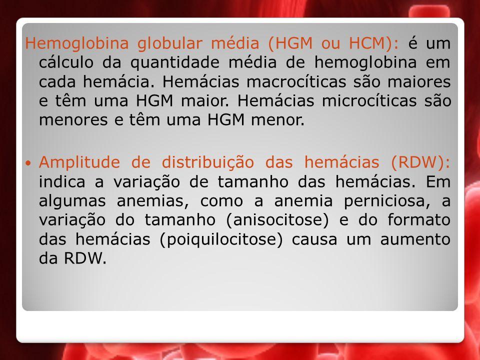 Hemoglobina globular média (HGM ou HCM): é um cálculo da quantidade média de hemoglobina em cada hemácia. Hemácias macrocíticas são maiores e têm uma