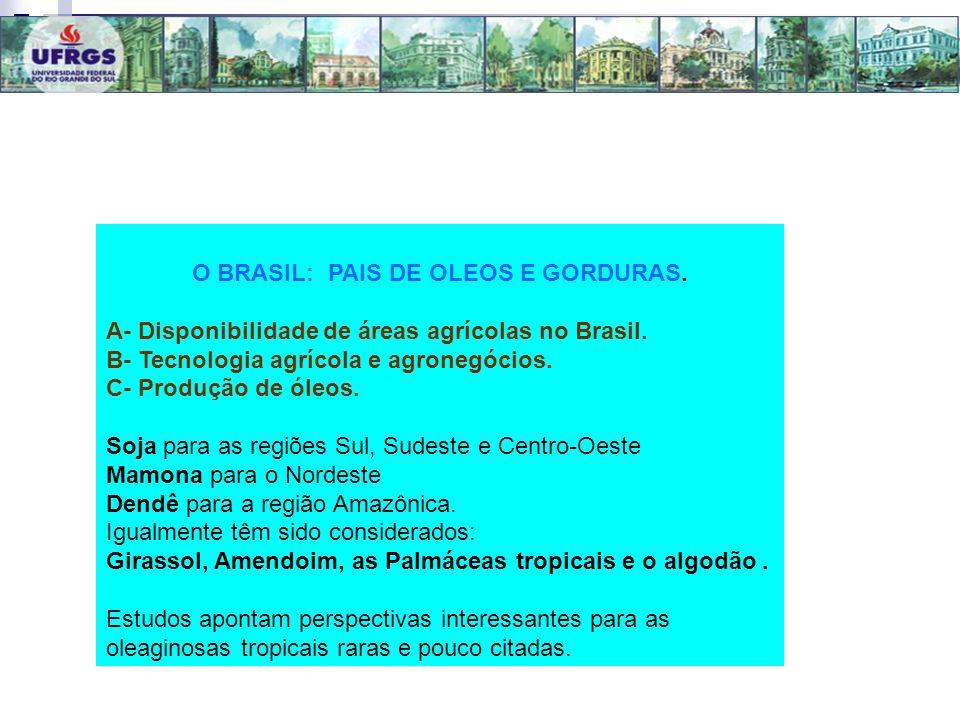 O BRASIL: PAIS DE OLEOS E GORDURAS. A- Disponibilidade de áreas agrícolas no Brasil. B- Tecnologia agrícola e agronegócios. C- Produção de óleos. Soja