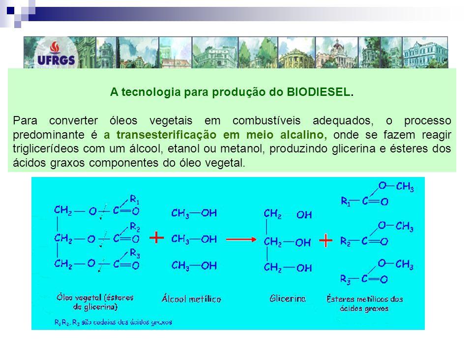 A tecnologia para produção do BIODIESEL. Para converter óleos vegetais em combustíveis adequados, o processo predominante é a transesterificação em me
