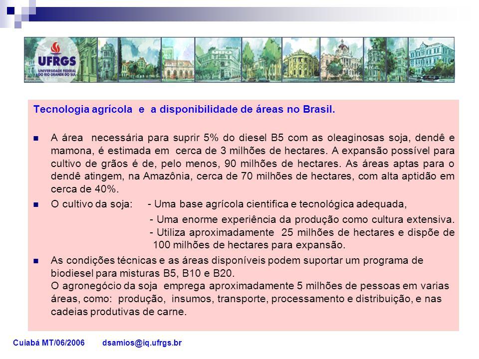 Tecnologia agrícola e a disponibilidade de áreas no Brasil. A área necessária para suprir 5% do diesel B5 com as oleaginosas soja, dendê e mamona, é e