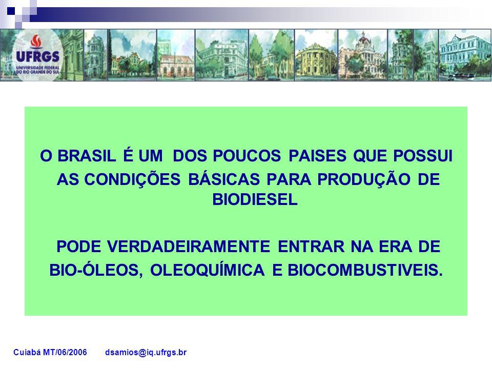 O BRASIL É UM DOS POUCOS PAISES QUE POSSUI AS CONDIÇÕES BÁSICAS PARA PRODUÇÃO DE BIODIESEL PODE VERDADEIRAMENTE ENTRAR NA ERA DE BIO-ÓLEOS, OLEOQUÍMIC